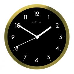 Black and Gold Wall Clock with White Hands