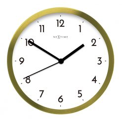Gold and White Large Wall Clock with Black Hands