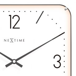Zoomed in of Square White Wall Clock with Black Hands