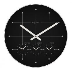 Round Black Large Wall Clock with White Hand