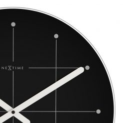 Zoomed in of Round Black Large Wall Clock with White Hand
