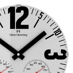 Zoomed in of White Bold 30cm Wall Clock with Black Hands