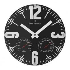 Round Black Wall Clock with White Hands