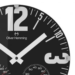 Zoomed in of Bold Domed Weather Station Wall Clock with White Hands