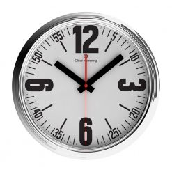 Round Silver Steel Wall Clock with Black Hands