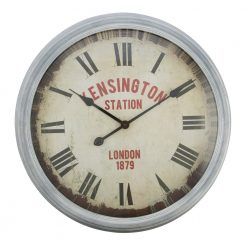 Round Silver Wall Clock with Black Hands
