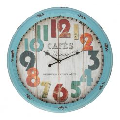 Round Blue Metal Large Wall Clock with Black Hands
