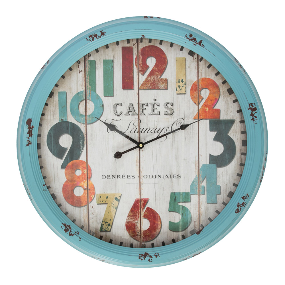 Buy cafe blue metal large wall clock online purely wall clocks cafe blue metal large wall clock hhz09h amipublicfo Image collections