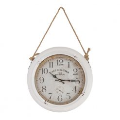 Round White Hanging Wall Clock with Black Hands