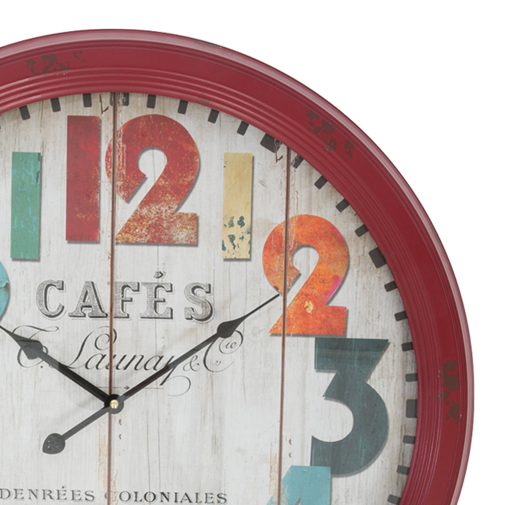 cafe red metal large wall clock hhz06h1