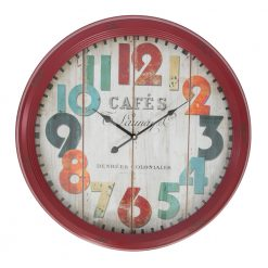 Round Red Metal Large Wall Clock with Black Hands