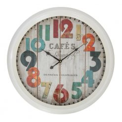 Round White Metal Large Wall Clock with Black Hands
