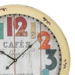 Zoomed in of Round Yellow Wall Clock