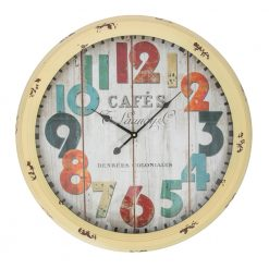 Round Yellow Metal Large Wall Clock