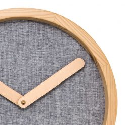 Zoomed in of Round Grey Wall Clock with Beige Hand