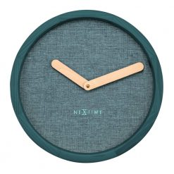 Round Turquoise Wall Clock with Beige Hand