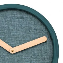 Zoomed in of Round Turquoise Wall Clock with Beige Hand