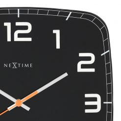 Zoomed in of Square Black Wall Clock with White Hands