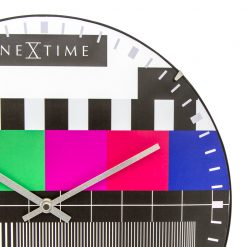 Zoomed in of Colorful Wall Clock with Silver Hands