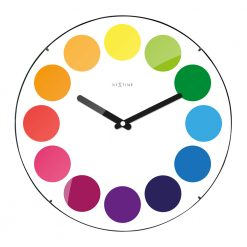 Round White Wall Clock with Colorful Circles
