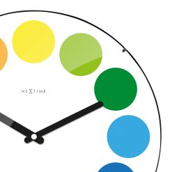 Zoomed in of White Wall Clock with Black Hands