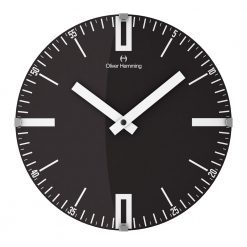 Black Round Double 0 30cm Domed Glass Wall Clock with White Hands