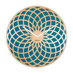 Round Wall Clock with Turquoise Pattern