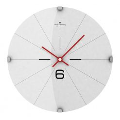 White Fine 30cm Domed Glass Wall Clock with Red Hands