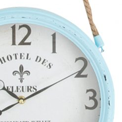 Zoomed in of Light Blue Wall Clock with Rope