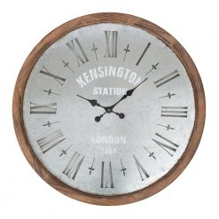 Round Wood Wall Clock with Black Hands
