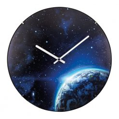 Round Black and Blue Wall Clock with White Hands