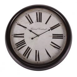Round Black Wall Clock with Roman Numerals