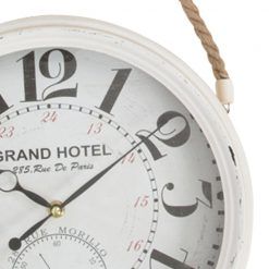Close up of White Wall Clock with Black Hands