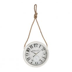 Round White Wall Clock with Rope