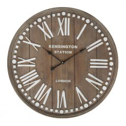 Round Wooden Wall Clock with Black Hands