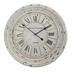 Round White Wall Clock With Black Hands