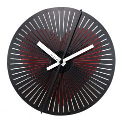 Round Black Wall Clock with Heart Pattern