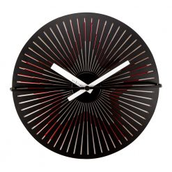 Square Black Wall Clock with Star Pattern