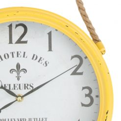 Zoomed in of Yellow Rope Hanging Iron Wall Clock