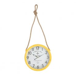 Round Yellow Iron Wall Clock with Rope