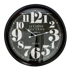 Round Black Large Wall Clock with White Hands