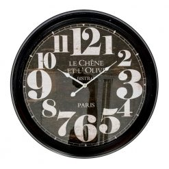 Round Large Metal Wall Clock with White Hands