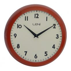 Round Red Wall Clock with Black Hands