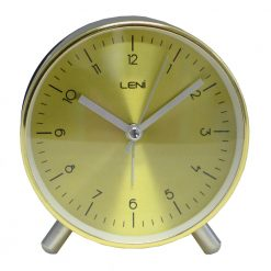 Round Gold Table Alarm Clock with White Hands