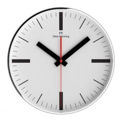 Round White Linear 30cm Steel Wall Clock