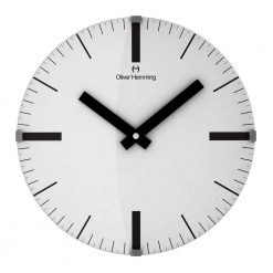 Linear 30cm Domed Glass Wall Clock with Black Hands
