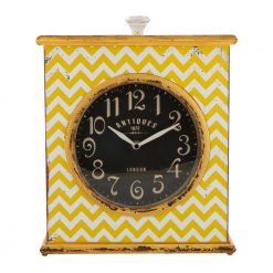 Square Retro Clock Antique with Yellow Pattern