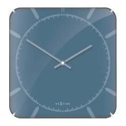 Blue Square Wall Clock with Blue Hands