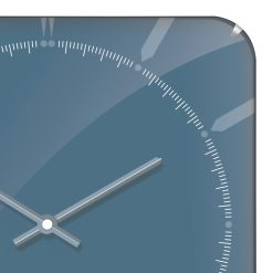 Zoomed in of Square Blue Wall Clock