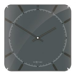 Square Grey Wall Clock with Black Hands